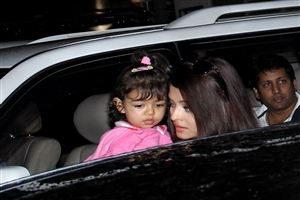 Aradhya Bachchan Child of Aishwarya Rai in Car Image