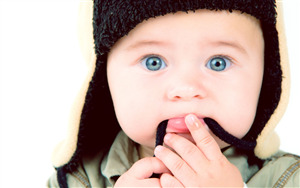 Beautiful Baby Boy in Winter Cap Pic