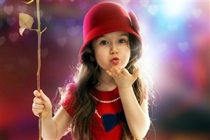 Beautiful Baby Girl Give Flying Kiss