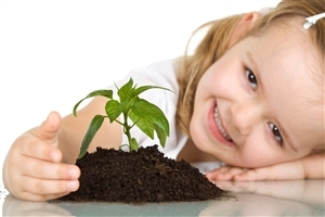 Beautiful Child Girl with Plant Wallpaper Free Download