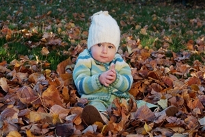Cute Baby Boy Playing Between Dry Leafs HD Wallpaper