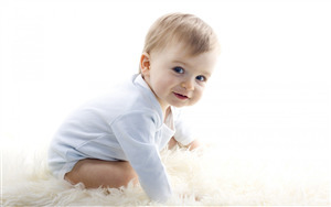 Cute Baby Boy on Fuffy Floor Photo