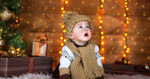 Cute Baby in Winter Wear 4K Wallpaper