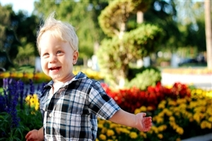 Cute White Baby Boy Playing in Garden HD Images