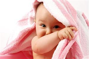 Cute White Baby with Towel