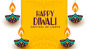 Festival of Lights Diwali 2019 Yellow Background 4K Wallpaper
