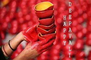 Happy Deepavali Lamps Greetings Wallpaper