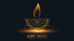 Happy Diwali Golden Lamp 4K Wallpaper