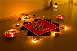 Inside Home Rangoli for Festival Diwali in India