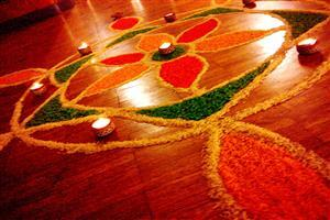 Rangoli Designs with Flowers for Diwali in India