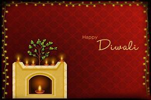 Subh Deepavali Diya Decoration Wallpaper