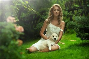 Hot Girl with Puppy in Garden