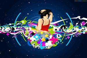 Disco DJ Lady Painting Wallpaper