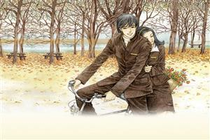 Romantic Couple on Bicycle Drawing Wallpapers