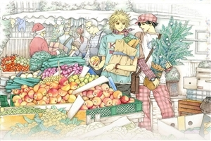 Two Boys on Fruit Shop Drawings Wallpaper