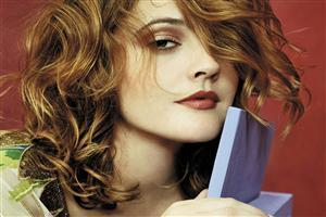 Drew Barrymore Hair Style with Red Lips