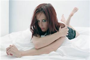 Hollywood Actress Eva Green on Bed