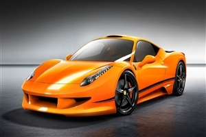 Orange Ferrari Car
