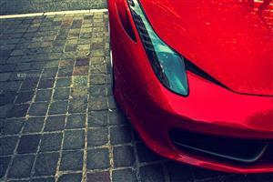Red Ferrari Front Lights Close Up Wallpaper