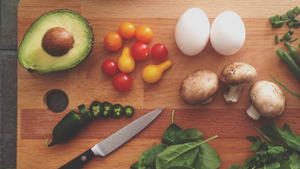 Eggs and Vegetables for Cutting HD Wallpaper