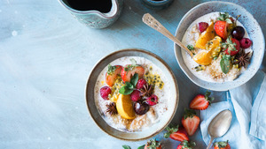 Healthy Breakfast Fruit and Oatmeal 5K Images