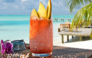 Mango Juice Drink on Beach HD Photo