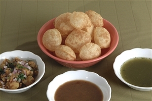 Popular Gujarati Pani Puri Snack Dish of Breakfast Photos