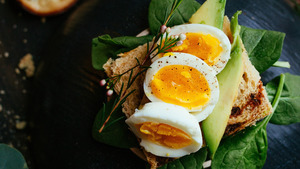 Tasty Boiled Egg with Bread HD Photo