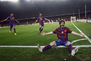 Lionel Messi Celebrating After Hit Winning Goal Wallpaper