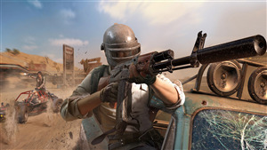 4K Photo of PUBG Game Player Man Gun Firing in Car