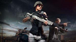5K Wallpaper of Girl with Weapon Sniper in PUBG Game