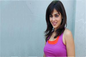 Genelia Dsouza Smiling Pink Lips In Purple Top