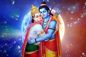 God Rama with Hanuman