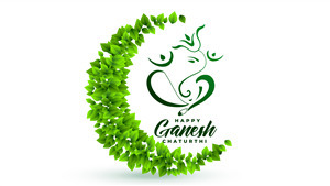 Green Ganesh Chaturthi 4K Wallpaper