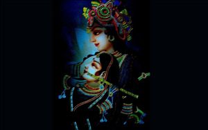 Lord Radhe with Krishna in Black Background