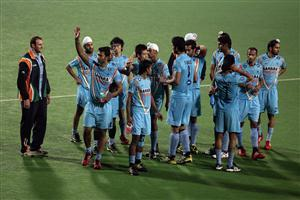 After Won the Match Indian Team Celebrates in Hockey World League 2013