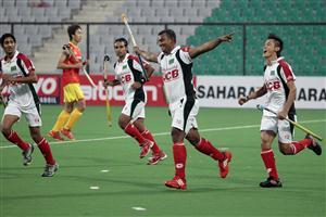 Bangladesh team Celebrates the goal again China in Hero Hockey World League 2013