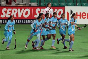 Hero Hockey World League 2013 Indian Girls Team Celebrates