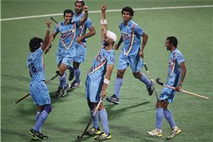 Indian Hocky Player Celebrate after Goal