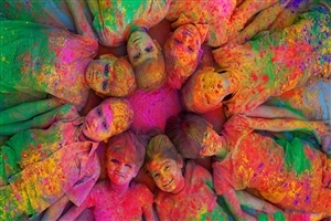 Beautiful Fun Photo of Children Celebrating and Enjoying Holi Colors
