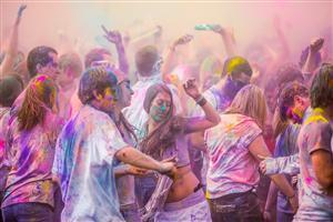 Dance in Festival Holi with Colors