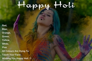 Girl Playing Holi Photo with Wishes