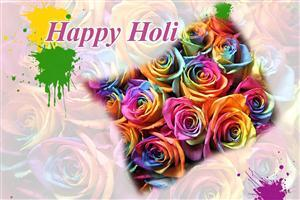 Happy Holi in Colorful Flowers