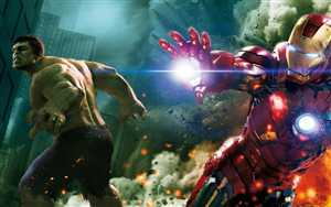 Superhero Iron Man with Hulk