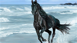 5K Painting Art of Black Horse Running on Beach