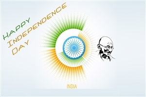 Happy Independence Day of India with Gandhiji HD Wallpaper