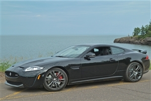 Super Black Jaguar XKR S Luxury Car Side View Photos