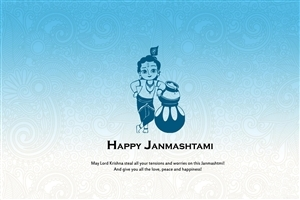 Happy Janmashtami of Krishna Greetings HD Wallpaper