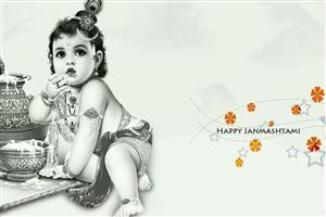 Happy Janmashtami Makhan Chor Krishna Wallpaper