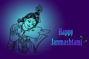 Happy Krishna Janmashtami in Blue Background